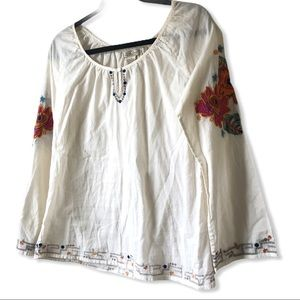 LUCKY BRAND Peasant Top Embroidered Rose Cotton Sm